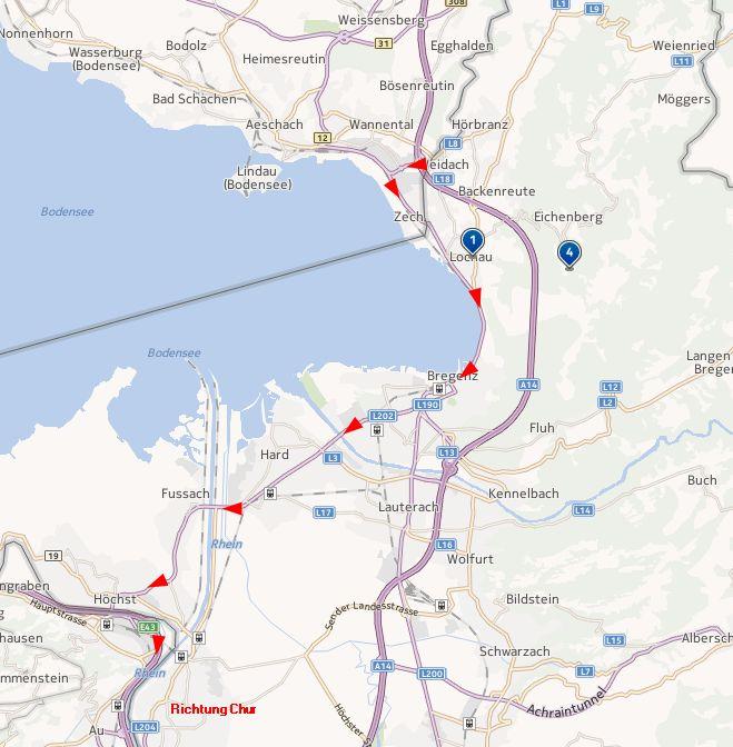 Der schnellste Weg von Süddeutschland in die Schweiz ohne Go-BOX (Österreich)